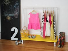 Kids Clothing DIY wrack for dress up clothes? Seems like an enclosed closet would be better though since we have so many hats / accesories. Kids Clothing Source : DIY wrack for dress up