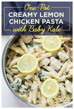 One-Pot Creamy Lemon Chicken Pasta With Baby Kale