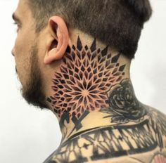Geometric mandala neck tat by Melow Perez