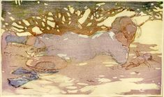 by Mabel Royds. Young girl lying with doll on grass beneath tree, hat beside her. c.1913 Colour woodcut, in the Japanese manner, predominantly in yellow, brown, mauve-pink and grey