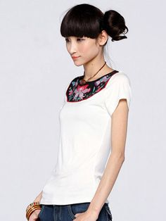 Nextwholesale.com…..new arrival…the most popular #clothing in #China,   #shirt,#dress,#pant,#tops  #Wholesale trendy embroidered t shirts with characteristic neckli