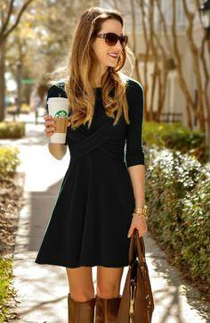 Fashion Cross Long Sleeve Scoop Short A-Line Dress