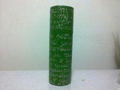 Estojo Verde e Letras Prateadas - Green and Silver Letters Toillet Roll Case - Lela Artes Artesanato - lelaartes2014@gmail.com