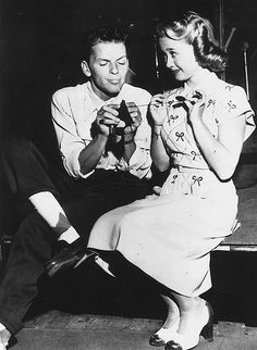 Frank Sinatra and Jane Powell in the studio for his radio program Songs by Sinatra, c. 1947