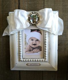 Christmas Frame Baby Bow White Jewel by HannahBowBanna on Etsy