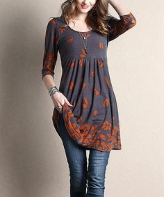 Look what I found on #zulily! Charcoal Falling Leaf Empire-Waist Tunic by Reborn Collection #zulilyfinds