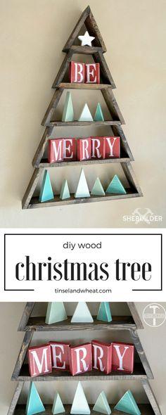 Diy Christmas Wood Decorations Xmas Trees 23 New Ideas Wooden Christmas Decorations, Christmas Wood Crafts, Diy Christmas Tree, Christmas Projects, Holiday Crafts, Holiday Decor, Christmas Ideas, Christmas Lights, Winter Wood Crafts
