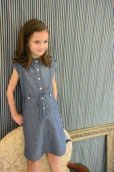 Olive Juice Kids: Sleeveless Shelby Chambray Dress