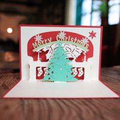 Red Merry Christmas Tree laser cut pop up paper handmade postcards custom greeting cards Xmas tree gifts paper Pop Up Christmas Cards, 3d Christmas, Christmas Greeting Cards, Christmas Wishes, Christmas Greetings, Handmade Christmas, Pop Up Card, Pop Up Greeting Cards, Greeting Cards Handmade