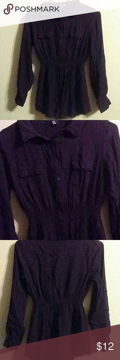 Purple Button down shirt Very cute shirt sleeves can be rolled up in great condition very soft Forever 21 Tops Button Down Shirts