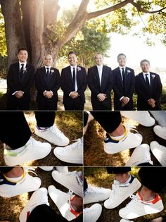 The #groomsmen and their custom #Adidas kicks! (Photo by Jamie Delaine) #wedding #groom