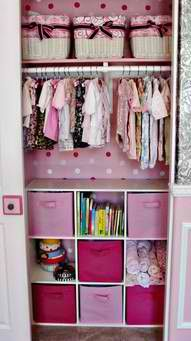 I really like the idea of putting some colour and extra shelving in the wardrobe.