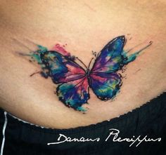Watercolor tattoo , butterfly  Full color