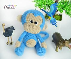 PATTERN Cute Blue Monkey by HavvaDesigns on Etsy - I like how she's done the nose.