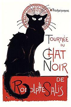 Le Chat Noir The Black Cat Bohemian Montmartre District Paris Vintage Advertisement Cool Wall Decor Art Print Poster Canvas Wall Art, Tournee Du Chat Noir, Noir, French Poster, Cabaret, Poster Art, Graphic Art Print, Canvas Art, Trademark Fine Art