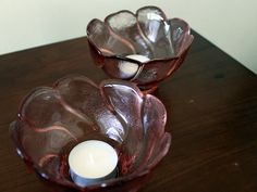 Pink/Rose Glass Vintage Tealight Holders by FinntageFromFinland