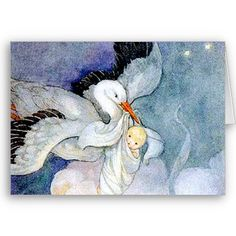 Stork and Baby Cards by Cardgallery