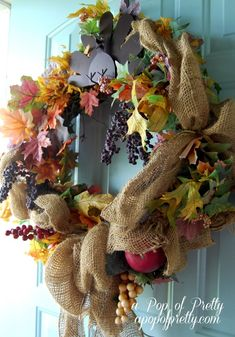 DIY Fall Wreath with fall leaves and burlap