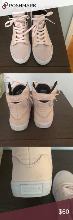 Sneakers baby pink suede supras. Worn once. Supra Shoes Sneakers