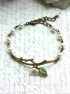 Forest Twig Ivory Flower Pearl Bracelet. Adjustable