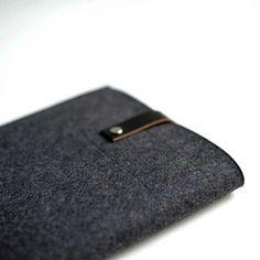 iPad Sleeve  Graphite Wool Felt with Black Leather by byrdandbelle, $48.00