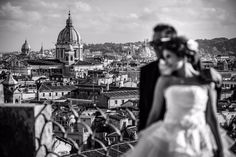 Bride and groom on the terrace...