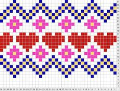 hearts n Flowers Tapestry Crochet Patterns, Fair Isle Knitting Patterns, Crochet Quilt, Knitting Charts, Baby Blanket Crochet, Knitting Stitches, Embroidery Stitches, Machine Embroidery, Craft Patterns