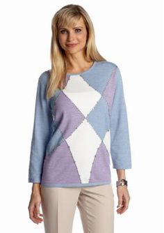 Alfred Dunner  Petite A Fine Romance Colorblock Studded Sweater