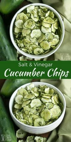 Easy to make baked salt and vinegar baked cucumber chips are a healthier low carb snack. And, they are low in calories which makes them almost guilt-free.