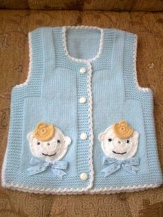 Baby Vest Decoration Techniques – Knit Vest Decorations for Babies - Babykleidung Baby Knitting Patterns, Knitting For Kids, Crochet For Kids, Knitting Designs, Crochet Designs, Baby Patterns, Crochet Baby, Baby Pullover, Baby Cardigan