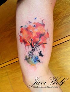 Watercolor Tattoos by Javi Wolf - Tattoo Designs For Women! Girly Tattoos, Time Tattoos, Hot Tattoos, Star Tattoos, Tribal Tattoos, Tattoos For Guys, Sleeve Tattoos, Tattoo Stars, Tattoo Neck