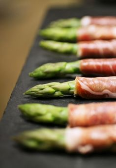 Asparagus spears wrapped in parma ham with a lemon pepper mayonnase