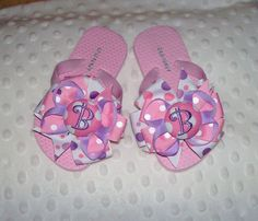 Party Polka Dot Princess SOFIA Pink and Purple Dots Monogram Initial Buttons Decorated Flip Flops BIRTHDAY on Etsy, $19.99