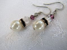 $11.00 I can make multiples in just about any color for your wedding party!  Amythist Crystals and Creamy Pearl Drop Beaded Earrings- Bridal Party- Wedding