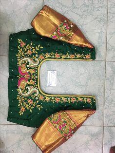 Sudhasri hemaswardrobe Wedding Saree Blouse Designs, Pattu Saree Blouse Designs, Blouse Designs Silk, Designer Blouse Patterns, Kids Blouse Designs, Simple Blouse Designs, Stylish Blouse Design, Hand Designs, Maggam Work Designs