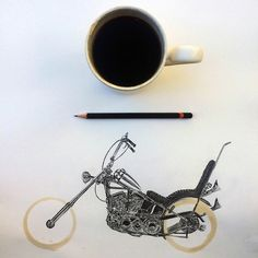 Pencil Drawings and Coffee Marks | Carter Asmann interprets coffee marks let on his white sheets of paper with very detailed pencil drawings. The brownish and circular mark of coffee is then a motorcycle, bicycle or car's wheel.