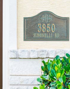 Create a Designer Address Plaque that pairs perfectly with your home's exterior. Customize this plaque with your choice of two finishes, two sizes, six icons, and one or two lines of personalized text. Noncorroding aluminum with a protective powdercoat.