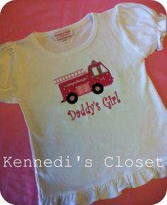 Daddys Girl Pink Firetruck Applique Ruffle Shirt by KennedisCloset. $24.95, via Etsy.