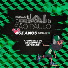 Parabéns São Paulo!  Neste dia 25/01 comemoramos o aniversário de 463 anos da Cidade de São Paulo e quem ganha o presente é você! A Overboard está cheia de descontos em diversos produtos. (Link clicável na Bio). #SP #AniversarioSP #bdaySP #Overboard #surfshop #promocao #descontos #sorteios #surf #skate #IloveSP