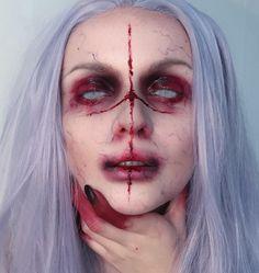 Seriously creepy makeup for Halloween! Halloween Zombie, Halloween Inspo, Halloween Looks, Halloween Cosplay, Halloween Costumes, Halloween Face Makeup, Halloween 2018, Creepy Makeup, Sfx Makeup
