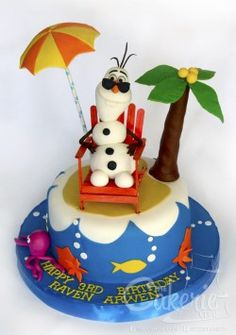 olaf in summer parasol cake Frozen Frozen Party Cake, Disney Frozen Cake, Disney Cakes, Frozen Birthday, Olaf Birthday, Disney Food, Birthday Cakes, Birthday Ideas, Cakes To Make