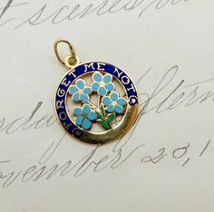 Vintage 14k GOLD ENAMEL CHARM 14k Yellow Gold by DaffodilsVintage