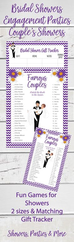 Famous Couples Shower game.  Fun at Engagement Parties and Coed showers too.  Purple chevron, purple and white flowers, and a groom holding his bride adorn this game.  Matching gift tracker included.