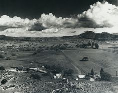 Southeast view of Albertson Ranch (later renamed Westlake Village) from Pork Chop Hill. Dekker Canyon Road at center; United States Highway 101 at right.