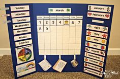 A couple of months ago I shared with you some FREE calendar board pritnables. Well, today I'm sharing how I did that over at Hip Homeschool Moms. Kindergarten Calendar, Preschool Calendar, Classroom Calendar, In Kindergarten, Preschool Boards, Preschool At Home, Preschool Learning, Preschool Activities, Preschool Classroom