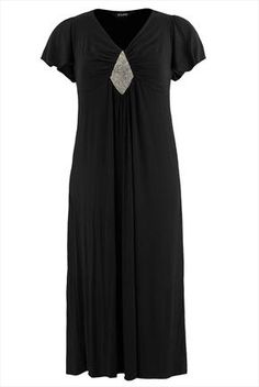 Black maxi dress with angel sleeves and jewelled front