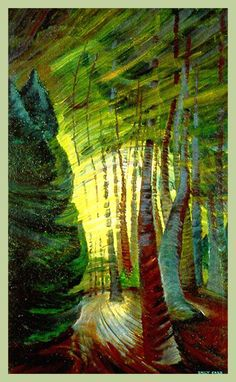 Emily Carr's The Sombreness of Sunlight Canada Landscape Counted Cross Stitch or Counted Needlepoint Pattern