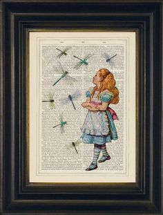 Alice Watching Dragonflies on 1830s English Encyclopaedia €20 from JamArtPrints.com Alice in Wonderland inspired