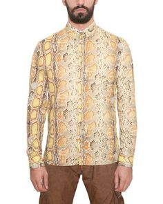 417015904a798 John Galliano - Yellow Cotton Poplin Python Print Shirt for Men - Lyst  Printed Cotton