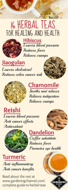 Herbal teas for healing and health.  Learn about which herbal tea is right to treat whatever ails you.  16 herbal teas and their health benefits.